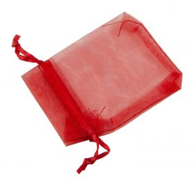 Small Organza Pouch | Ribbon Drawstring  Red