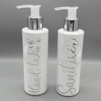White Small Refillable Bathroom Bottles (set of 2)