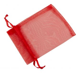 Medium Organza Pouch | Ribbon Drawstring  Red