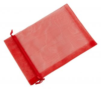 Large Organza Pouch | Ribbon Drawstring  Red