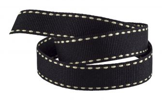 Reel Of Grosgrain Ribbon With contrasting Stitching  Black
