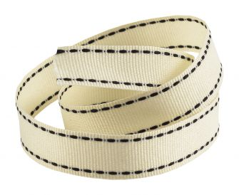 Reel Of Grosgrain Ribbon With contrasting Stitching  Cream