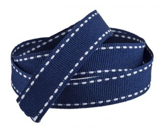 Reel Of Grosgrain Ribbon With contrasting Stitching  Blue