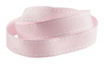 Reel Of Grosgrain Ribbon With contrasting Stitching  Pink
