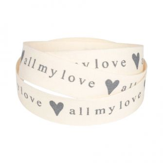 All my love printed cotton ribbon