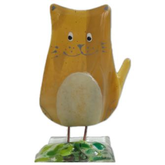 Fused Glass Amber Cat