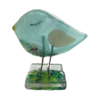 Fused Glass Aquamarine Birdie