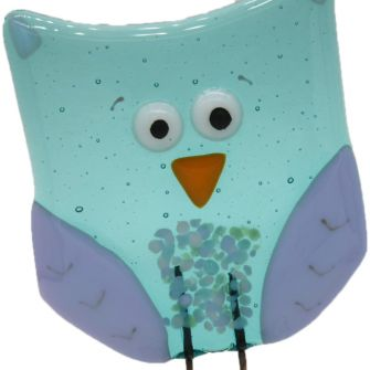 Fused Glass Aquamarine Owl