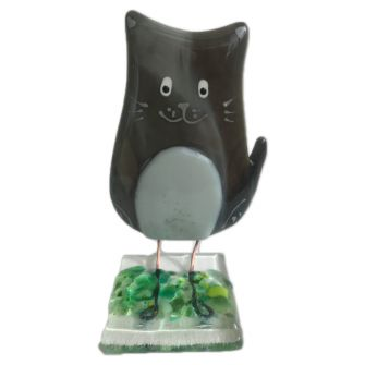 Fused Glass Black Cat