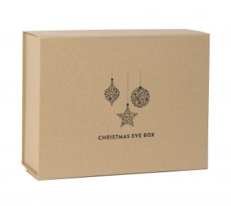 Deep Black Christmas Eve Magnetic Gift Box with black bauble print