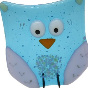 Fused Glass Turquoise Owl