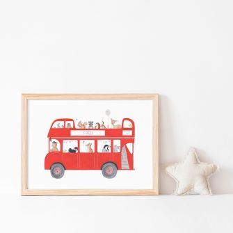 Customisable Woodland Bus Print