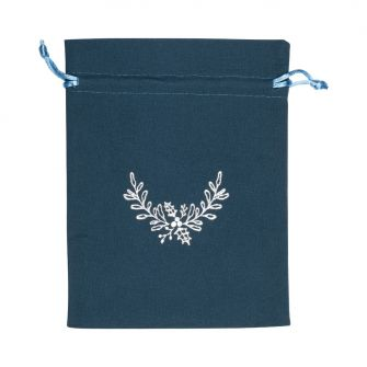 Large Silver Holly Printed Dark Teal Cotton Bag | 165 x 145mm