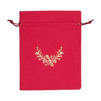 Large Gold Holly Printed Red Cotton Bag