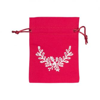 Medium Gold Holly Printed Red Cotton Bag | 95 x 90 mm