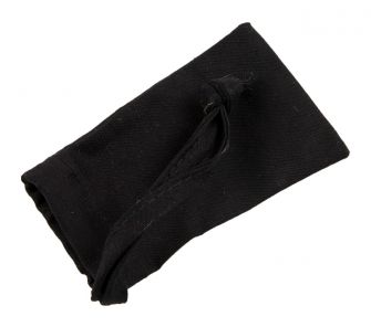 Small Black Cotton Bag with One Sided Drawstring