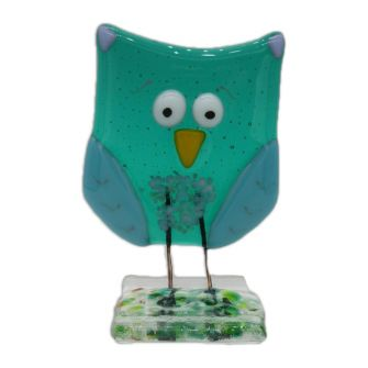 Fused Glass Emerald Owl