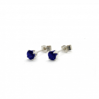 Blue Sapphire Silver Stud Earrings