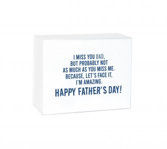 Father's Day Miss You Medium White Laminated Magnetic Gift Box