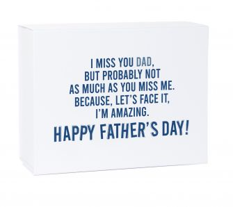 Father's Day Miss You Deep White Laminated Magnetic Gift Box