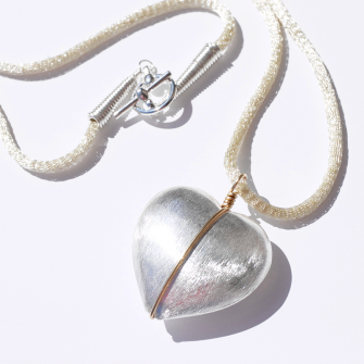 Lorna Large Heart Necklace with Gold Wire