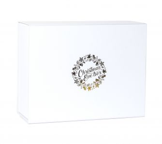 Deep White Christmas Eve Magnetic Gift Box with gold wreath print