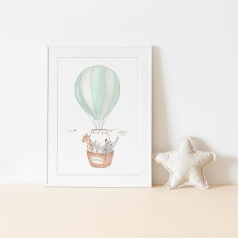 Customisable Hot Air Balloon Print | Green