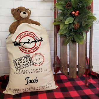 Express Delivery North Pole Natural Personalised Christmas Santa Sack