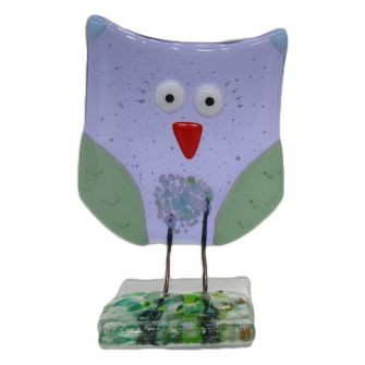 Fused Glass Lavender Owl