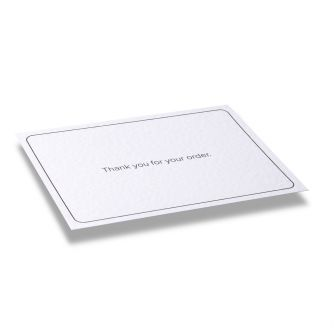 Black thank you for your order A6 message card