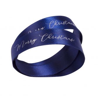 Navy With Gold Printed Ribbon | Christmas Ribbon