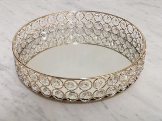 Mirrored decorative tray with crystal embellishments