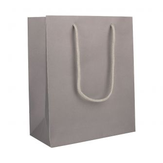 Large Portrait Grey Paper Gift Bag with Rope Handles