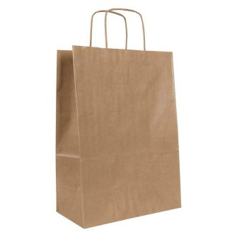 Medium Brown Kraft Paper Gift Bag With Paper Twisted Handles