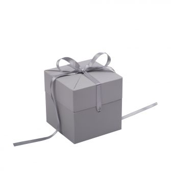 Grey Cube Pop Up Gift Box