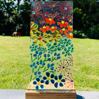 Make at Home Fused Glass Rainbow Panel and Hardwood Base