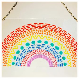 Make at Home Fused Glass Rainbow Window Hanger with Chain Kit