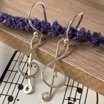 Treble Clef Earrings made from Sterling Silver