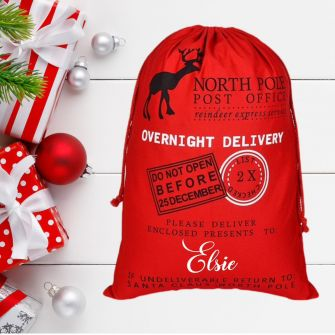 North Pole Post Office Red Personalised Christmas Santa Sack