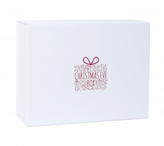 Deep White Christmas Eve Box with Red Present Print