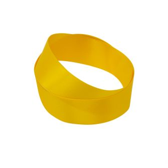 Yellow recycled bottle satin ribbon in a roll
