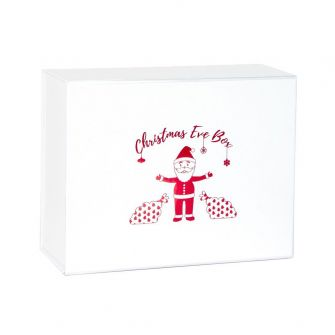 White Christmas Eve Magnetic Gift Box with red santa print