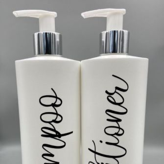 White Refillable Bathroom Bottles (set of 2)