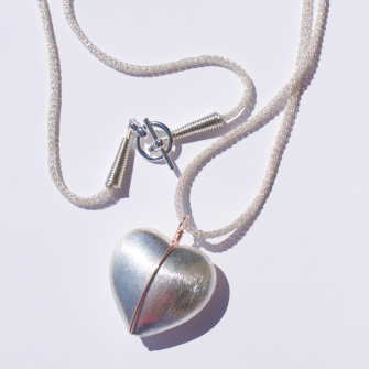 Lorna Large Heart Necklace with Rose Gold Wire