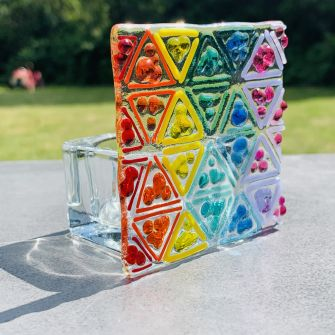 Make at Home Fused Glass Rainbow Tea Light Kit (family pack)