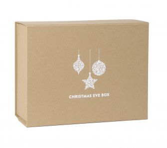 Deep Black Christmas Eve Magnetic Gift Box with white bauble print