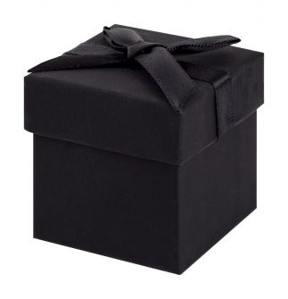 Black Cube Box with Ribbon
