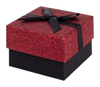 Black and Red Glitter Gift Box