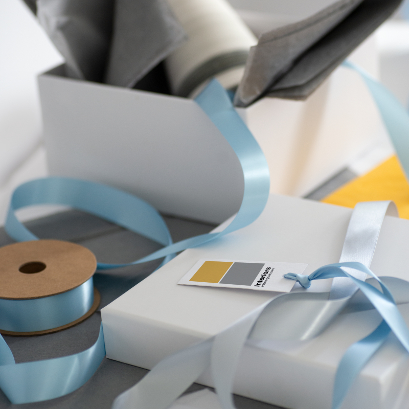 Baby blue ribbon wrapping insporation
